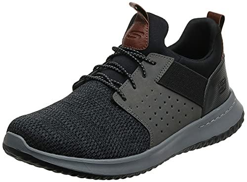 Skechers Men's Classic Fit-Delson-Camden Sneaker, Black/Grey,11 Wide US