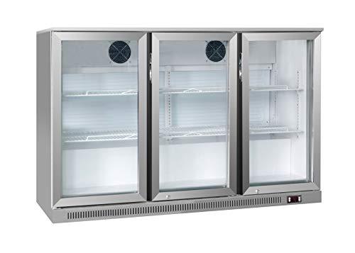 Barkühltisch - Getränkekühlschrank Edelstahl 1,3 m - 300 Liter - mit 3 Glastüren