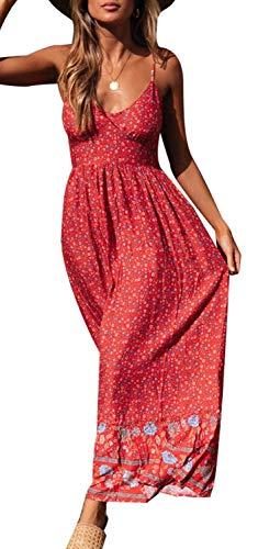 Longwu Vestido Maxi de Verano con Cuello en V Floral Sexy Boho de Las Mujeres Correa de Espagueti Ajustable sin Respaldo Cintura elástica Vestido de Verano Rojo-XL