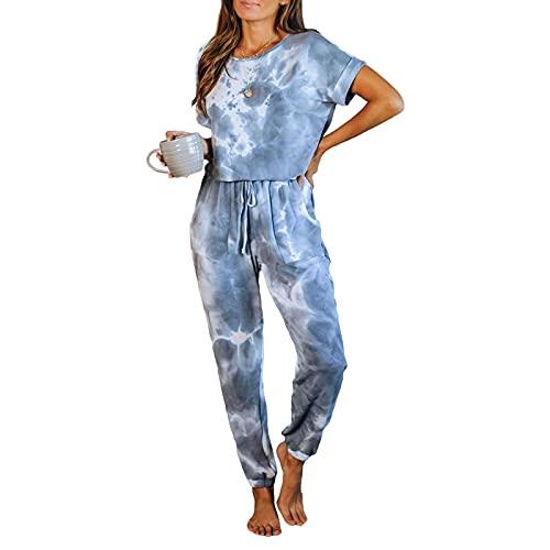 Señoras Pijamas Set Sleepwear Pijamas Pijamas Manga Corta Cuello Redondo Sleefffewear House Traje con Patrón De Tinte Corbata Top Top + Pantalones,Azul,XL