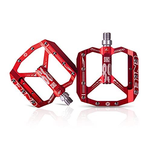 Pedale per mountain bike, battistrada T6 in lega di alluminio, cuscinetto DU sigillato in acciaio al cromo-molibdeno da 12 mm, tacchette per presa, resistente all'usura e alla corrosione (Red)