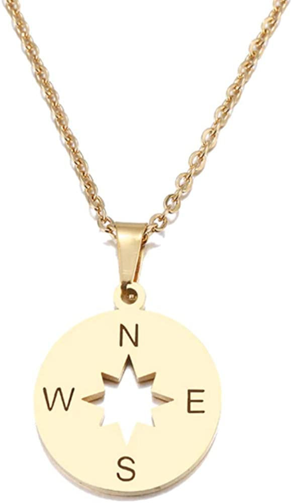 Compass Stainless Steel Pendant Necklace Chain Round Coin Gold for Girls Women 17 inch Link Gift Lucky