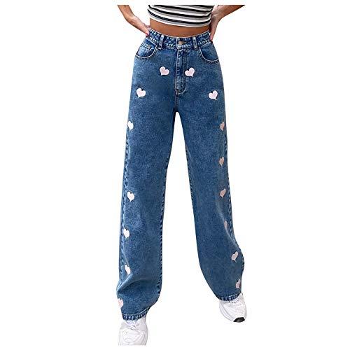 Y2K Jeans Damen High Waist Baggy Jeans Jeanshosen, Hose - Damen Jeans Boyfriend High Waist Jeanshose Locker Lang Boyfriend Jeans Blau Hose Jeans Straight Lässig Weich
