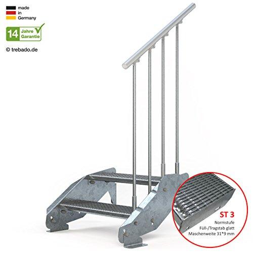 Preisvergleich Produktbild Außentreppe 2 Stufen 70 cm Laufbreite einseitiges Geländer rechts - Anstellhöhe variabel von 29 cm bis 44 cm - Gitterroststufe ST3 - feuerverzinkte Stahltreppe mit 700 mm Stufenlänge als montagefertiger Bausatz