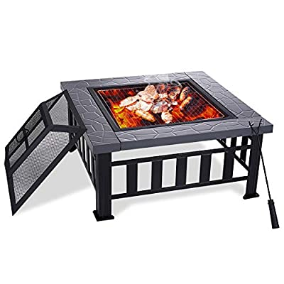 Yardom 34 inch Outdoor Fire Pits BBQ Square Firepit Table Backyard Patio Garden Stove Wood Burning Fireplace with Grill, Spark Screen Cover, Poker, Rain Cover
