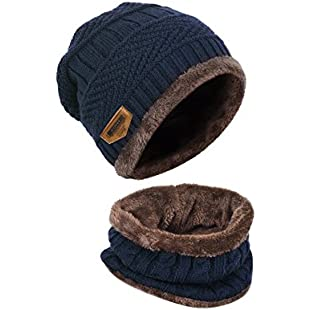 LvLoFit Winter Thermal Knitted Heanie Hat and Circle Scarf Set for Women/Men Warm Snood Suit for Indoors and Outdoor Sports (Dark Blue)