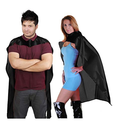 DELUXE BLACK SATIN CAPE IN VARIOUS LENGTHS FOR SUPER HERO VAMPIRE FANCY DRESS KIDS OR ADULTS (34 INCH, BLACK)