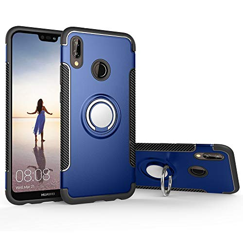 stengh Funda Huawei P20 Lite ANE-LX1 ANE-L21 ANE-LX3 ANE-L23 ANE-L01 / Nova 3e ANE-AL00 Case Cover + 360 Degree Rotating Ring Holder Kickstand Blue