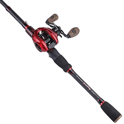 Sougayilang Fishing Baitcaster Combos, Lightweight Baitcasting Combo Fishing Rod and 9+1BB Fishing Reel for Travel Saltwater Freshwater for Beginner—6.9FT Rod and Right Hand Reel