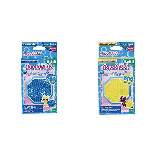 Aquabeads 32708 Glitzerperlen Bastelperlen nachfüllen blau & 32688 Glitzerperlen Bastelperlen nachfüllen gelb