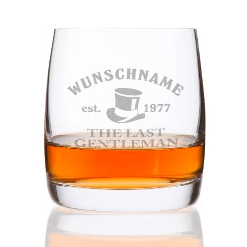 Herz & Heim® Whiskeyglas (Bohemia) mit kostenloser Gravur - Last Gentleman - tolle Geschenkidee für Ihren Lieblingsmenschen