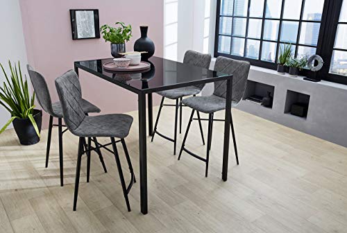 lifestyle4living Esstisch in schwarz, moderner Hochtisch mit Tischplatte aus Glas und Metallgestell in schwarz, Maße: B/H/T ca. 120/91/80 cm, rechteckig