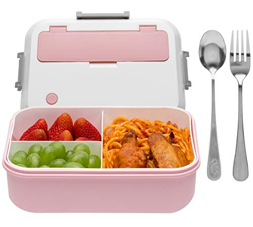 Bento Box for Adults - 1300ML Bento Lunch Boxes For Adults Kids, Leak-proof and Eco-Friendly, Includes Stainless Spoon & Fork - Durable Safe Meal Containers(Pink)