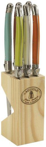 Laguiole Jean Dubost 5/16454 Holzblock mit 6 Steakmessern, farblich Sortiert