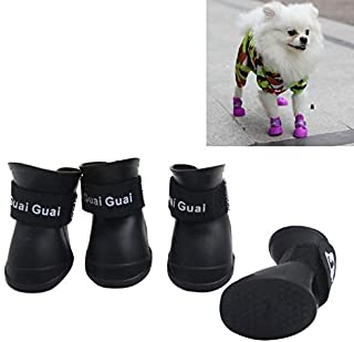 Zapatos de mascota Botines de goma Botas de lluvia impermeable de perro SODIAL Negro S