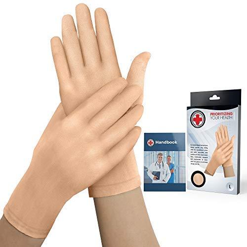 Doctor Developed Nude Arthritis Gloves/Skin Gloves and Doctor Written Handbook - for Arthritis, Raynauds Disease & Carpal Tunnel (One Pair) (Full-Finger, Small)
