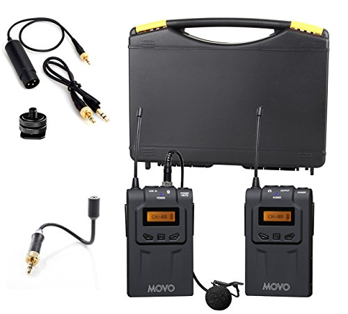 Movo WMIC70 Professional UHF Gooseneck and Wireless Lavalier Microphone System with Gooseneck Mic, Omni-Lav, Camera Mount and 3.5mm/XLR Outputs (328-foot Range) - Ideal for Weddings, Vlogs, and More