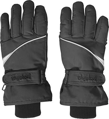 Playshoes Kinder Schnee-Handschuhe mit Thinsulate-Technik Finger Unisex Fingerhandschuhe mit Klettverschluss, schwarz, 5