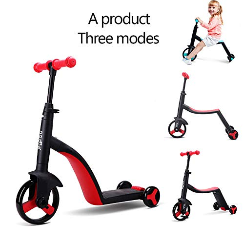 JZAMY 2 in 1 | 2 Children's and Toddler's Scooters with Movable Seats, Balance Bikes, 3 Height-Adjustable Children's Scooters, Best Birthday Gifts for Boys Aged 2-8,Red