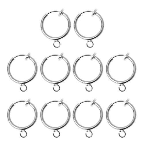 JunYe 10 stuks ronde clips van messing met lus voor oorbellen sieraden resultaten met hanger DIY - goud