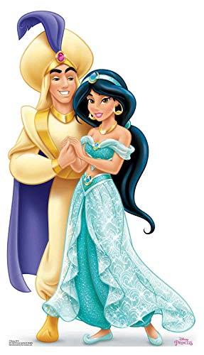 STAR CUTOUTS SC1356 Mini-Pappaufsteller Prinzessin Jasmin und Aladdin, Höhe 89 cm, ideal für Hochzeitstische, Partys und Veranstaltungen, Mehrfarbig