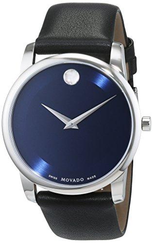 Movado Herren Datum klassisch Quarz Uhr mit Leder Armband 606610