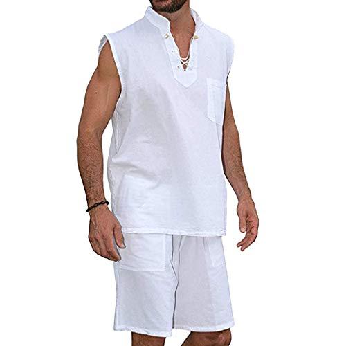 FONMA Men's Fashion T-Shirt Tee Hippie Shirts Short Sleeve Beach Shirt Shorts Suit White