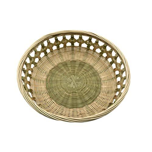 GARNECK Canasta de Pan de Mimbre Tejido de Bambú para Servir Comida Tazón de Almacenamiento de Exhibición Bandeja de Almacenamiento de Pastel de Dulces de Frutas para Organizar Alimentos