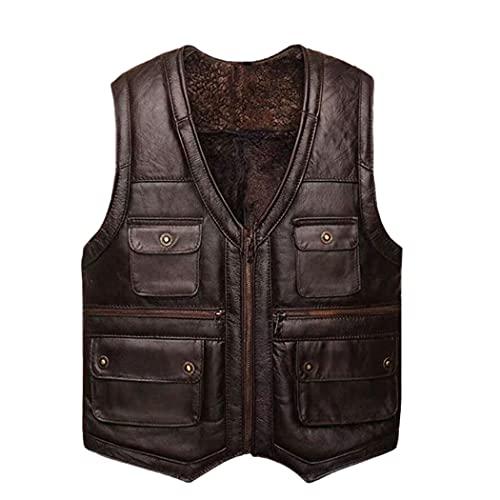 Chaqueta de cuero de piel de oveja completa de lujo para hombre, chaleco de la motocicleta para los hombres, chaqueta de cuero marrón negro del invierno con bolsillos