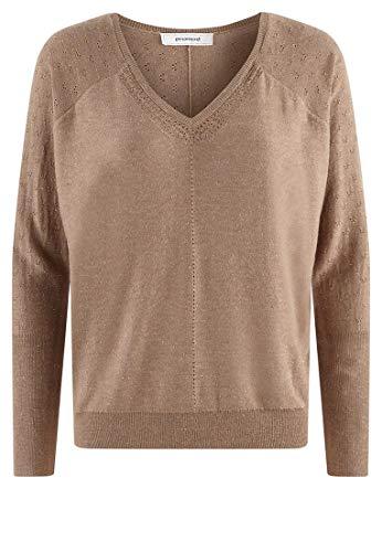 Promod V-Ausschnitt-Pullover Ecru XL