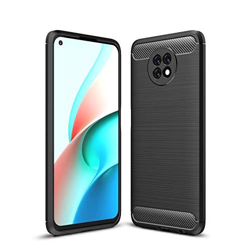 FINEONE Custodia per Xiaomi Redmi Note 9T 5G, Cover in Silicone TPU Sottile e Morbida, Case Fibra di Carbonio Caso Antiscivolo e Anticaduta, Nero