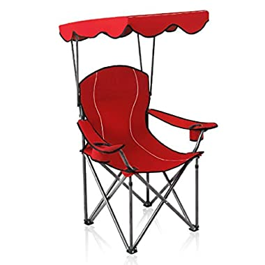 ALPHA CAMP Shade Canopy Chair Folding Camping Chair Support 350 LBS - Red