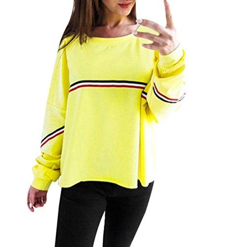 ESAILQ Damen Ultra Damen Pique-Poloshirt Basic(L,Gelb)
