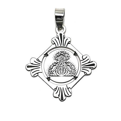 Colgante plata Ley 925m medalla 25mm. Virgen de la Cabeza [AC0465]