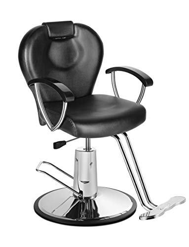Eastmagic Hydraulic Barber Chair Reclining Salon Chair with Movable Headrest Black Beauty Salon Equipment All Purpose