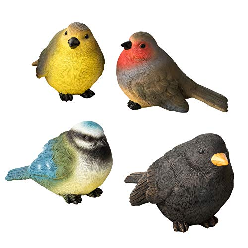 1PLUS 4 Vögel zur Gartendekoration aus Polyresin, versch. Arten in versch. Farben