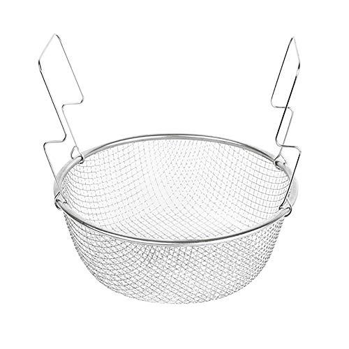 22 cm de acero inoxidable de la sartén de la cesta de freidora profunda para las patatas fritas de cebolla vegetal