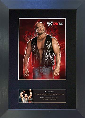 The Autograph Collector Stone Cold Steve Austin WWE Wrestler Signiertes Autogramm Foto Reproduktion A4 seltener Perfekter Geburtstag (297 x 210 mm) #500, Schwarzer Rahmen, 12 x 8 inches