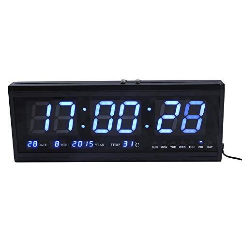 Reloj de pared digital por radio controlado con calendario, LED, termómetro, pantalla LCD, reloj de pared, mesa calendario, LED, termómetro, calendario de alarma, reloj para decoración azul
