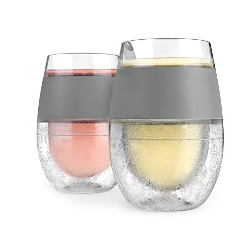 HOST Freeze Cooling Cup, Set of 2 Double Wall Insulated Freezer Chilling Tumbler with Gel, Glasses for Red and White Wine, 8.5 oz, Grey