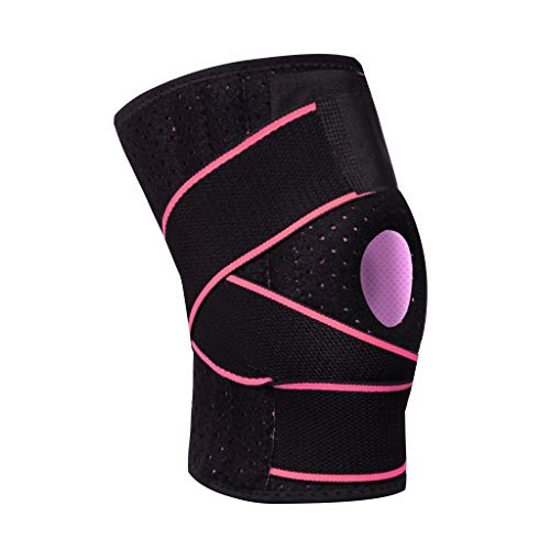 youeneom Knee Brace Non-Slip Open-Patella Brace with Adjustable Strap & Side Stabilizers - Best Knee Support for Arthritis, Best Joint Pain Relief, Torn Meniscus Support, Injury Recovery 1pcs (Pink)