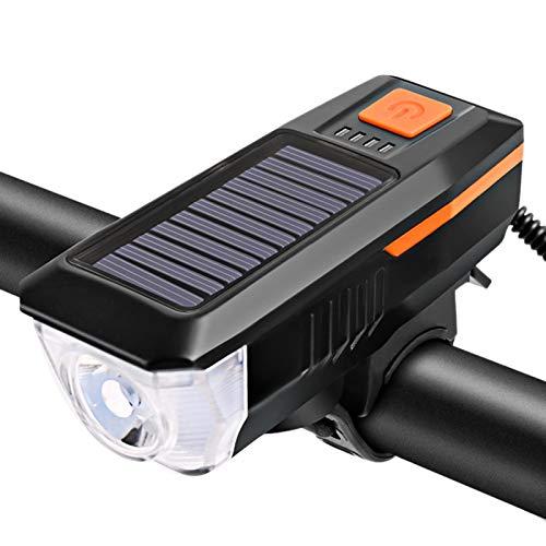 Luz para Bicicleta, LáMpara De Bocina Solar para Bicicleta, Linterna Impermeable con Carga USB, para Ciclistas De Carretera Y Ciclistas De MontañA IluminacióN Frontal Orange