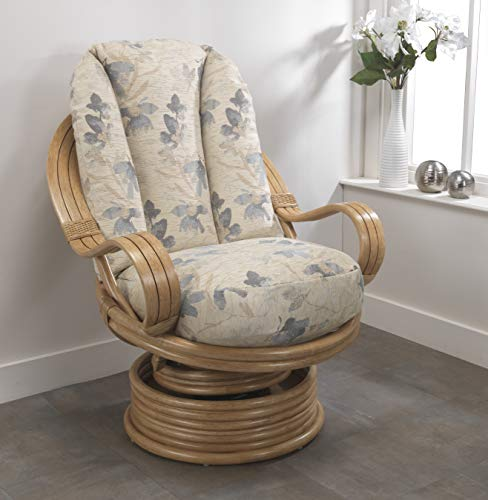 Desser Light Oak Cane Swivel Rocker Chair in Oasis Fabric – 360° Swivel & Rocking Motion with Laminated Arms – Real Cane Rattan Indoor Furniture – Quallofil - H98cm W83cm D98cm