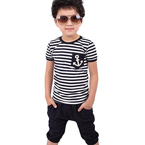 K-youth Ropa de Niño Verano 2018 Moda Conjuntos Niño Ropa Bebe Niño Primavera Rayas Camiseta Manga Corta T-Shirt Tops y Pantalones Cortos Conjunto de Ropa 2-8 Años