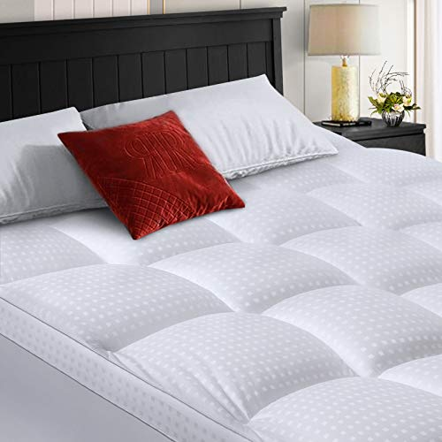 COHOME King Size Mattress Topper Extra Thick Cooling Mattress Pad 400TC Cotton Top Plush Down Alternative Fill Pillow Top Mattress Cover with 8-21 Inch Deep Pocket (78x80 Inches, White-Classic)