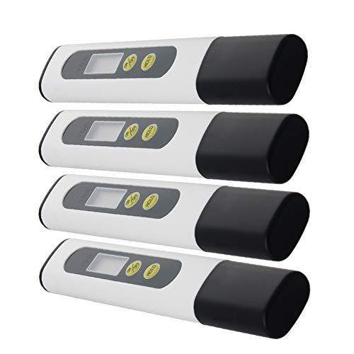 Othmro TDS & EC Tester TDS-M2 Hand-Tester 1-9990PPM 1 Auflösung Kunststoff + Titanlegierung 138 × 23 × 13 mm (L × B × H) Schwarz + Weiß + Gelb 4 Stück