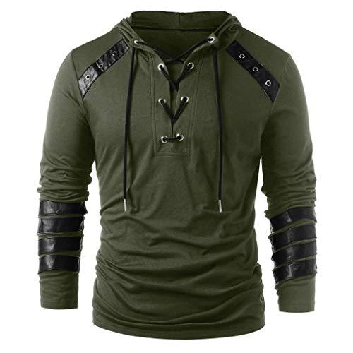 Xmiral Herren Kapuzenoberteile Kordelzug Vintage Leder Patchwork Langarm Sweatshirt Tops Pullover Schnürung Kapuzenpullover Sweatshirts(t Armeegrün,XL)