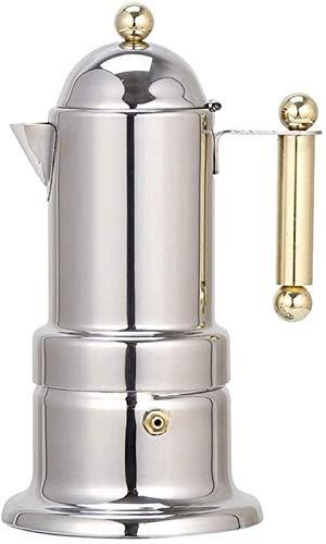 LIYONG Cafetera, portátil, 200 ml, 4 tazas de acero inoxidable, máquina automática de café con válvula de seguridad HLSJ