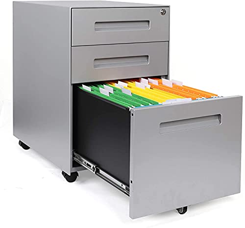 YOLEO Metall Rollcontainer Stahl Rollcontainer mit 3 Schubladen und Hängeregistratur Abschließbarer Büroschrank Bürocontainer 48x40x59 cm (Gray)…
