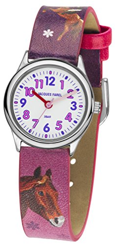 JACQUES FAREL Kinder-Armbanduhr Mädchen Pferd Analog Quarz Metall Leatherette HCC 543